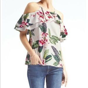 Banana Republic Floral Cold Shoulder Top